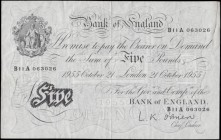 Five Pounds O'Brien White note B276 Thin paper Metal thread LONDON branch issue dated 21st October 1955 serial number B11A 063026, VF - GVF with a glu...
