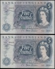 Five Pounds Fforde QE2 portrait & seated child Britannia B312 issue 1967 (2) a consecutively numbered pair serial numbers Y82 185650 & Y82 185651. Bot...