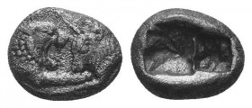 Kings of Lydia, time of Croesus. Diobol, circa 561-546 BC, AR facing lion and bull, as above. A. Rough hollow square. Condition: Very Fine  Weight: 1....