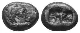 KINGS of LYDIA. Kroisos. Circa 564/53-550/39 BC. AR Half Stater. Sardes mint. Confronted foreparts of lion right and bull left / Two incuse squares. B...