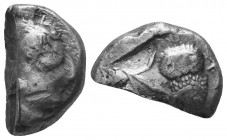 Attica, Athens AR Archaic Style Cut Tetradrachm. Circa 485 BC. Archaic head of Athena right, wearing crested helmet / Owl standing to right with head ...