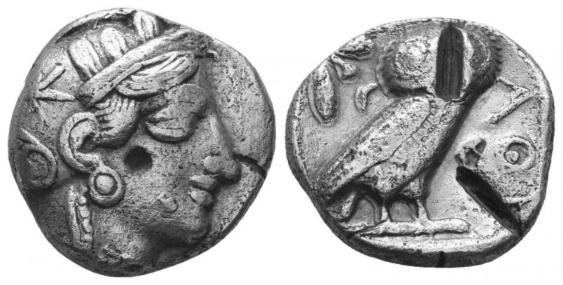 ATTICA. Athens. AR Tetradrachm. ca. 454-415 B.C. SNG Cop-31. Helmeted head of At...