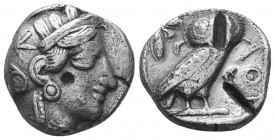 ATTICA. Athens. AR Tetradrachm. ca. 454-415 B.C. SNG Cop-31. Helmeted head of Athena right; Reverse: Owl standing right, head facing, olive sprig behi...