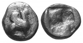 Ionia, Teos AR Triobol. Circa 510-475 BC. Griffin seated right / Rough incuse square. Balcer group XXI, 51-6; SNG Copenhagen 1434  Condition: Very Fin...