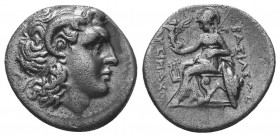 Lysimachus (323-281 BC). AR drachm. 297-282 BC. Head of the deified Alexander the Great right, wearing diadem and horn of Ammon / BAΣIΛEΩΣ ΛYΣIMAXOY, ...