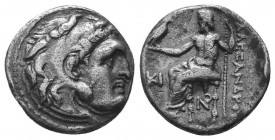 Kings of Macedon. Alexander III 'the Great' (336-323 BC). AR Drachm  Condition: Very Fine  Weight: 4.10 gr Diameter: 17 mm