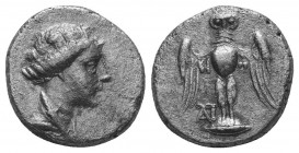 Pontos, Amisos AR Siglos, Circa 4th century BC. Draped bust of Hera left, wearing turreted diadem / Owl standing facing with spread wings; monogram be...