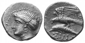 Sinope , Paphlagonia. AR Drachm , c. 410-350 BC. Obv. Head of nymph left, wearing ear-ring; hair in sakkos. Rev. Sea-eagle on dolphin left; above,  Co...