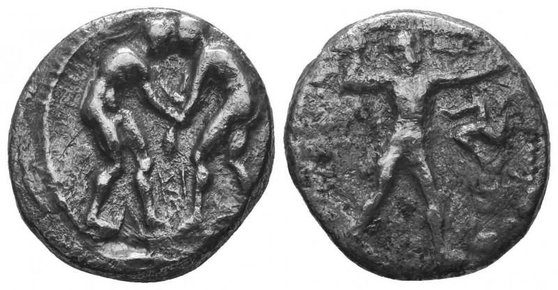 Aspendos, Pamphylia. AR Stater c. 380-325 BC. Obv. Two wrestlers; between them, ...