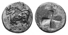 Thrace, Byzantion. AR Drachm , c. 387/6-340 BC. Obv. ΠΥ, Bull standing on dolphin left. Rev. Quadripartite incuse square with stippled surface. SNG BM...