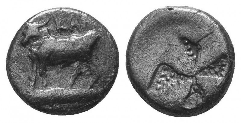 Thrace, Byzantion. AR Drachm , c. 387/6-340 BC. Obv. ΠΥ, Bull standing on dolphi...