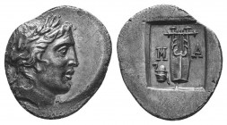 Lykian League, Masikytes AR Hemidrachm. 2nd - 1st century BC. Laureate head of Apollo right, Λ behind, Y before / Kithara of three strings, M-A across...