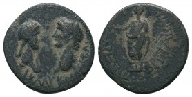 LYDIA. Tralles. Claudius with Messalina and Britannicus (41-54). Ae.  Condition: Very Fine  Weight: 4.00 gr Diameter: 19 mm