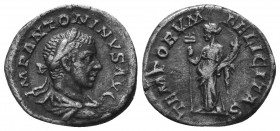 ELAGABALUS (218-222). Denarius.   Condition: Very Fine  Weight: 2.90 gr Diameter: 19 mm