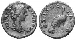Diva Faustina II AR Denarius. Rome, AD 176-180.  Condition: Very Fine  Weight: 3.20 gr Diameter: 17 mm
