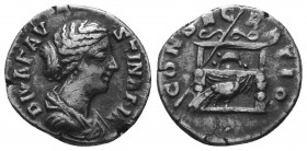 Diva Faustina II AR Denarius. Rome, AD 176-180.  Condition: Very Fine  Weight: 2.90 gr Diameter: 16 mm