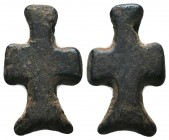 Byzantine/Crusader, c. 9th-13th century AD. Beautiful bronze Crusader-cross.   Condition: Very Fine  Weight: 1.70 gr Diameter: 26 mm