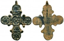 Byzantine/Crusader, c. 9th-13th century AD. Beautiful bronze Crusader-cross pendant. Elegantly Decorated  Condition: Very Fine  Weight: 7.80 gr Diamet...