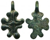 Byzantine/Crusader, c. 9th-13th century AD. Beautiful bronze Crusader-cross pendant. Elegantly Decorated  Condition: Very Fine  Weight: 1.80 gr Diamet...