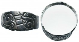 Byzantine/Crusader, c. 9th-13th century AD. Beautiful Silver Decorated Ring,  Condition: Very Fine  Weight: 3.50 gr Diameter: 21 mm