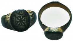 Byzantine/Crusader, c. 9th-13th century AD. Beautiful Bronze Ring Condition: Very Fine  Weight: 10.30 gr Diameter: 26 mm