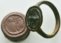 Byzantine/Crusader, c. 9th-13th century AD. Very RARE and Beautiful Seal Ring , Condition: Very Fine  Weight: 5.70 gr Diameter: 24 mm