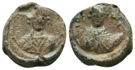 Nice iconographic byzantine lead seal with busts of two military saints (ca 11th cent.)
