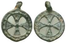 Medieval/Crusades Europe, c. 9th-14th century AD. Great lead Pilgrim's Cross amulet, carried by pilgrims from Europe to the Holy Land and back.