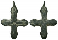 Byzantine Empire, c. 8th-11th century AD. Interesting bronze cross pendant.