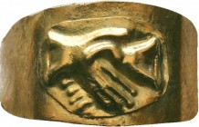 Ancient Roman Gold Clasp Hands Wedding Ring, 1st - 2nd Century AD.