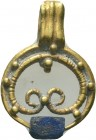 Ancient Roman Gold Pendant with blue stone inlaid, 1st - 2nd Century AD.