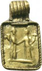 Ancient Greek Gold Pendant two standing figures inlaid, 3rd - 1st Century BC.