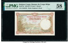 Belgian Congo Banque du Congo Belge, Matadi 5 Francs 26.12.1924 Pick 8c PMG Choice About Unc 58. A simply impressive banknote, infrequently encountere...