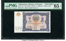 Afghanistan Ministry of Finance 2 Afghanis ND (1936) / SH1315 Pick 15s Specimen PMG Gem Uncirculated 65 EPQ. Roulette Specimen Punch.  HID09801242017 ...