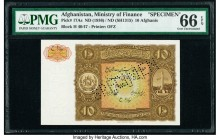 Afghanistan Ministry of Finance 10 Afghanis ND (1936) / ND (SH1315) Pick 17As Specimen PMG Gem Uncirculated 66 EPQ. Roulette Specimen Punch.  HID09801...