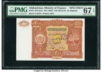 Afghanistan Ministry of Finance 20 Afghanis ND (1936) / ND (SH1315) Pick 18A PMG Superb Gem Unc 67 EPQ. Roulette Specimen punch.  HID09801242017  © 20...