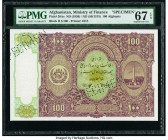 Afghanistan Ministry of Finance 100 Afghanis ND (1936) / SH1315 Pick 20As Specimen PMG Superb Gem Unc 67 EPQ. Cancelled perforated.   HID09801242017  ...