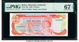 Belize Monetary Authority 5 Dollars 1.6.1980 Pick 39a PMG Superb Gem Unc 67 EPQ.   HID09801242017  © 2020 Heritage Auctions | All Rights Reserve