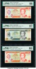 Belize Central Bank 5 (2); 10 Dollars 1.6.1991; 1.5.1990; 1.3.1966 Pick 53b; 54a; 58 Three Examples PMG Gem Uncirculated 66 EPQ (2); Superb Gem Unc 67...