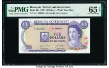 Bermuda Bermuda Government 10 Dollars 6.2.1970 Pick 25a PMG Gem Uncirculated 65 EPQ. Serial number 63.  HID09801242017  © 2020 Heritage Auctions | All...