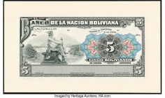 Bolivia Banco de la Nacion Boliviana 5 Bolivianos 11.5.1911 Pick 105p Proof Crisp Uncirculated. Mounted on cardstock.   HID09801242017  © 2020 Heritag...