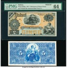 Bolivia Banco Potosi 5 Bolivianos 1.1.1887 Pick S222fp; S222bp Front and Back Proofs PMG Choice Uncirculated 64; About Uncirculated. Front Proof; pape...