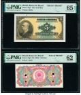 Brazil Banco do Brasil 5 Mil Reis 1923 Pick 112p1; 112p2 Front and Back Proofs PMG Gem Uncirculated 65 EPQ; Uncirculated 62. Front Proof; printer's an...