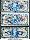 Brazil Tesouro Nacional 1; 2; 10 Cruzeiro(s) ND (1943-44) Pick 132s; 133s; 135s Specimen Crisp Uncirculated. Each example is punch hole cancelled with...