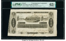 Brazil Banco Do Brazil 20 Mil Reis ND (1856) Pick S246x Contemporary Counterfeit PMG Choice Uncirculated 63 EPQ.   HID09801242017  © 2020 Heritage Auc...
