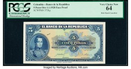 Colombia Banco de la Republica 5 Pesos Oro 1.1.1928 Pick 373fp Front Proof PCGS Very Choice New 64. Partial POCs and this is a Front Proof not Back Pr...