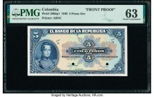 Colombia Banco de la Republica 5 Pesos Oro 12.10.1949 Pick 386dp1 Front Proof PMG Choice Uncirculated 63. Two POCs.  HID09801242017  © 2020 Heritage A...