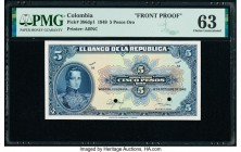 Colombia Banco de la Republica 5 Pesos Oro ND; 12.10.1949 Pick 386dp1 Front Proof PMG Choice Uncirculated 63. Two POCs.  HID09801242017  © 2020 Herita...