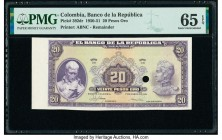 Colombia Banco de la Republica 20 Pesos Oro 1.1.1951 Pick 392dr Remainder PMG Gem Uncirculated 65 EPQ. One POC.  HID09801242017  © 2020 Heritage Aucti...