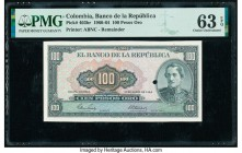 Colombia Banco de la Republica 100 Pesos Oro 1.1.1964 Pick 403br Remainder PMG Choice Uncirculated 63 EPQ. One POC.  HID09801242017  © 2020 Heritage A...